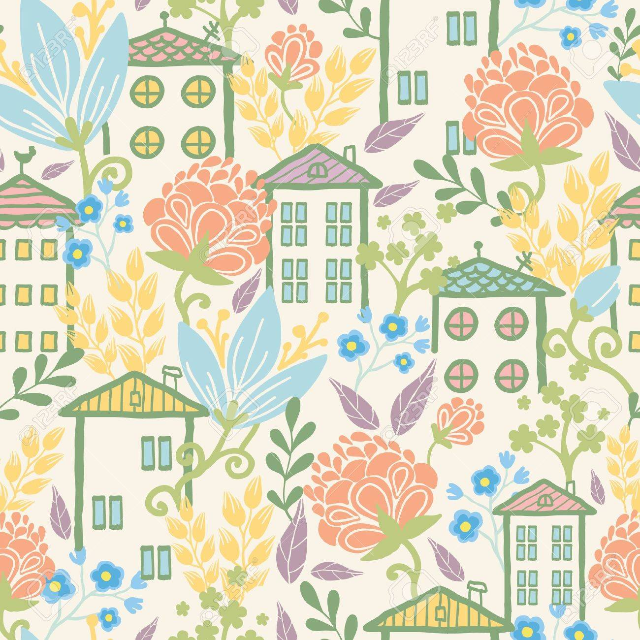 Houses among flowers seamless pattern background Stock Vector - 17195344