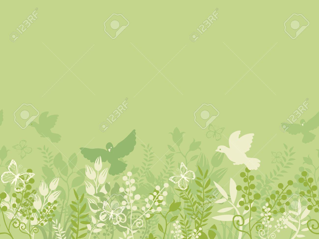 Green nature horizontal seamless pattern background border Stock Vector - 17195330