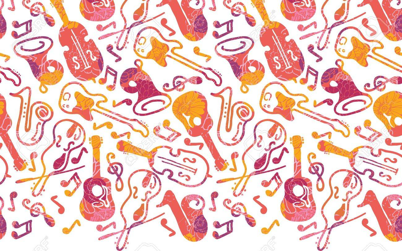 Colorful musical instruments horizontal seamless pattern border Stock Vector - 17195372