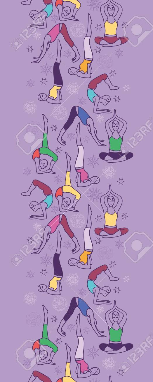 Yoga poses vertical seamless pattern background border Stock Vector - 17195348