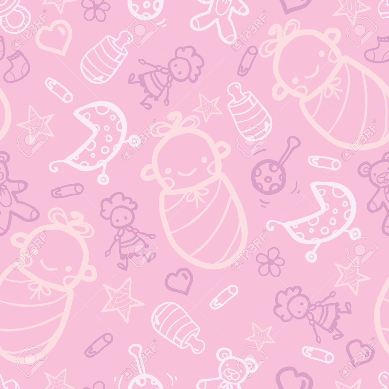 Baby Girl Pink Seamless Pattern Background Stock Vector   17231329