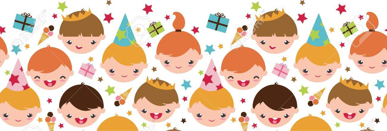 Kids at a birthday party horizontal seamless pattern background Stock Vector - 17231282