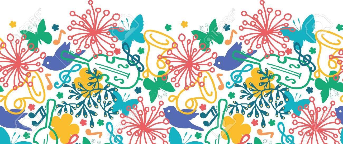 Spring music symphony horizontal seamless pattern background Stock Vector - 17319097