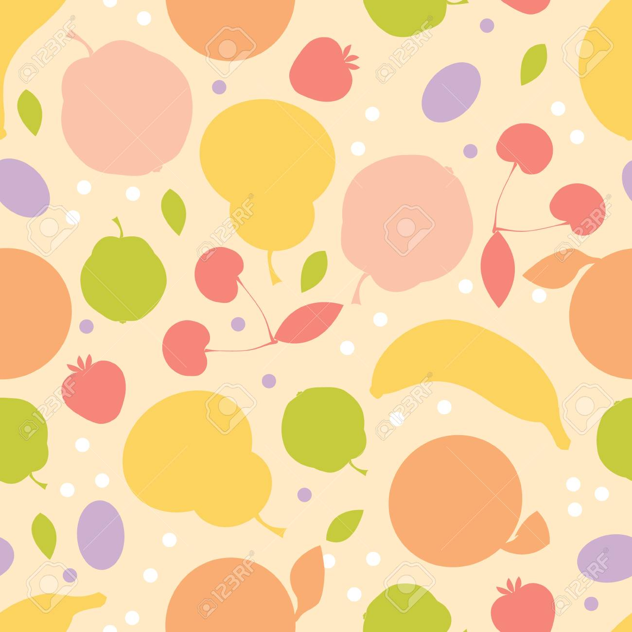 Colorful fruit seamless pattern background Stock Vector - 17360616