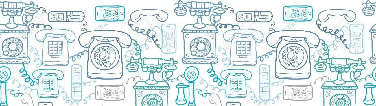 Vintage and modern telephones horizontal seamless pattern Stock Vector - 17379742