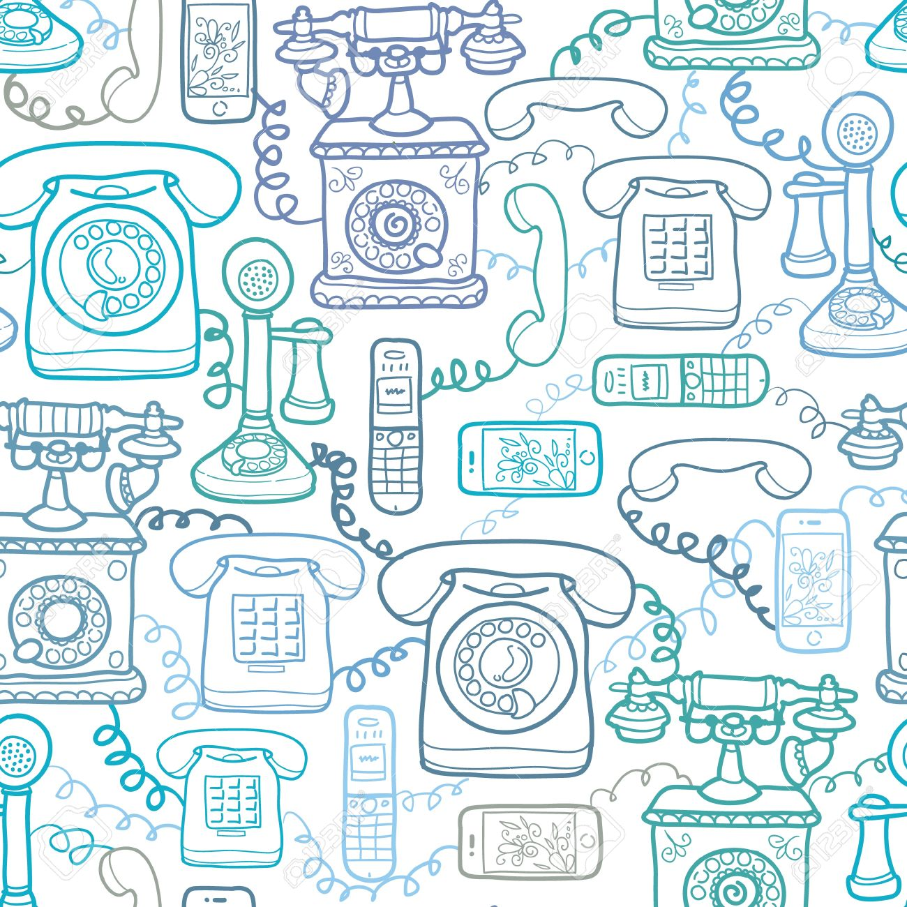 Vintage and modern telephones seamless pattern background Stock Vector - 17379744