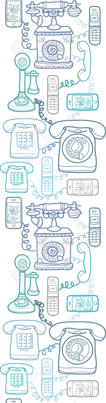 Vintage and modern telephones vertical seamless pattern Stock Vector - 17379740