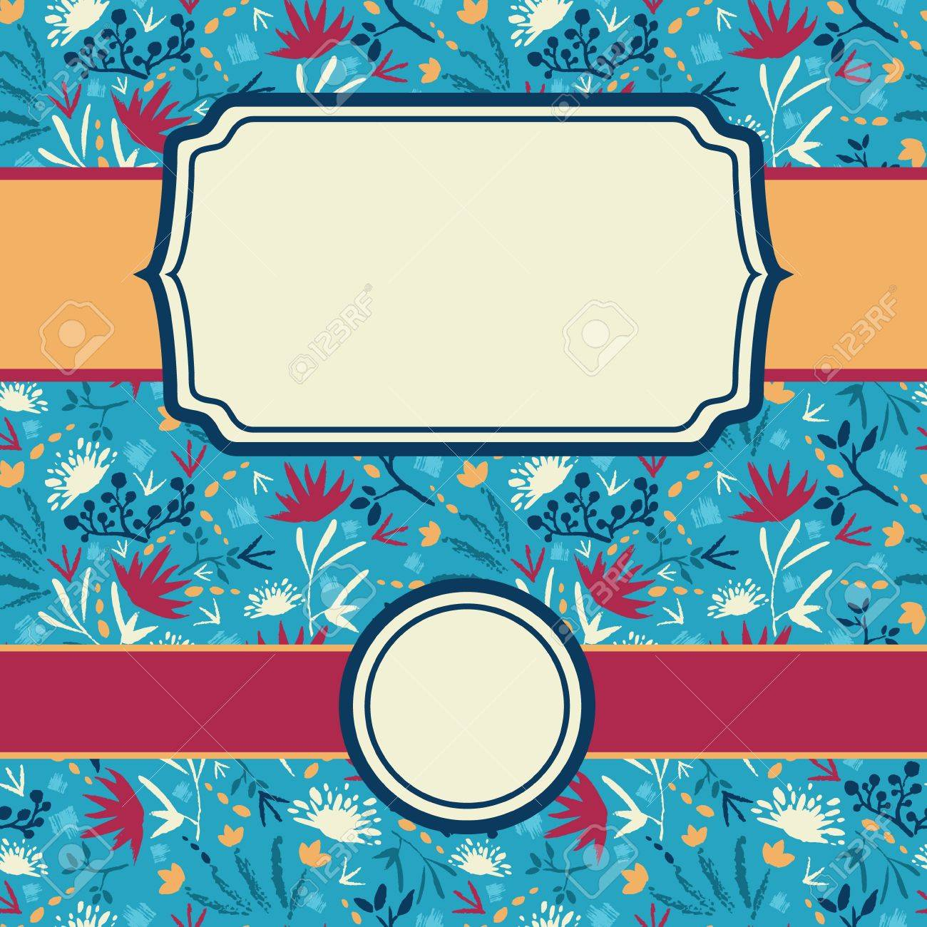 set of frames with abstract painted flowers seamless pattern background Stock Vector - 17379754
