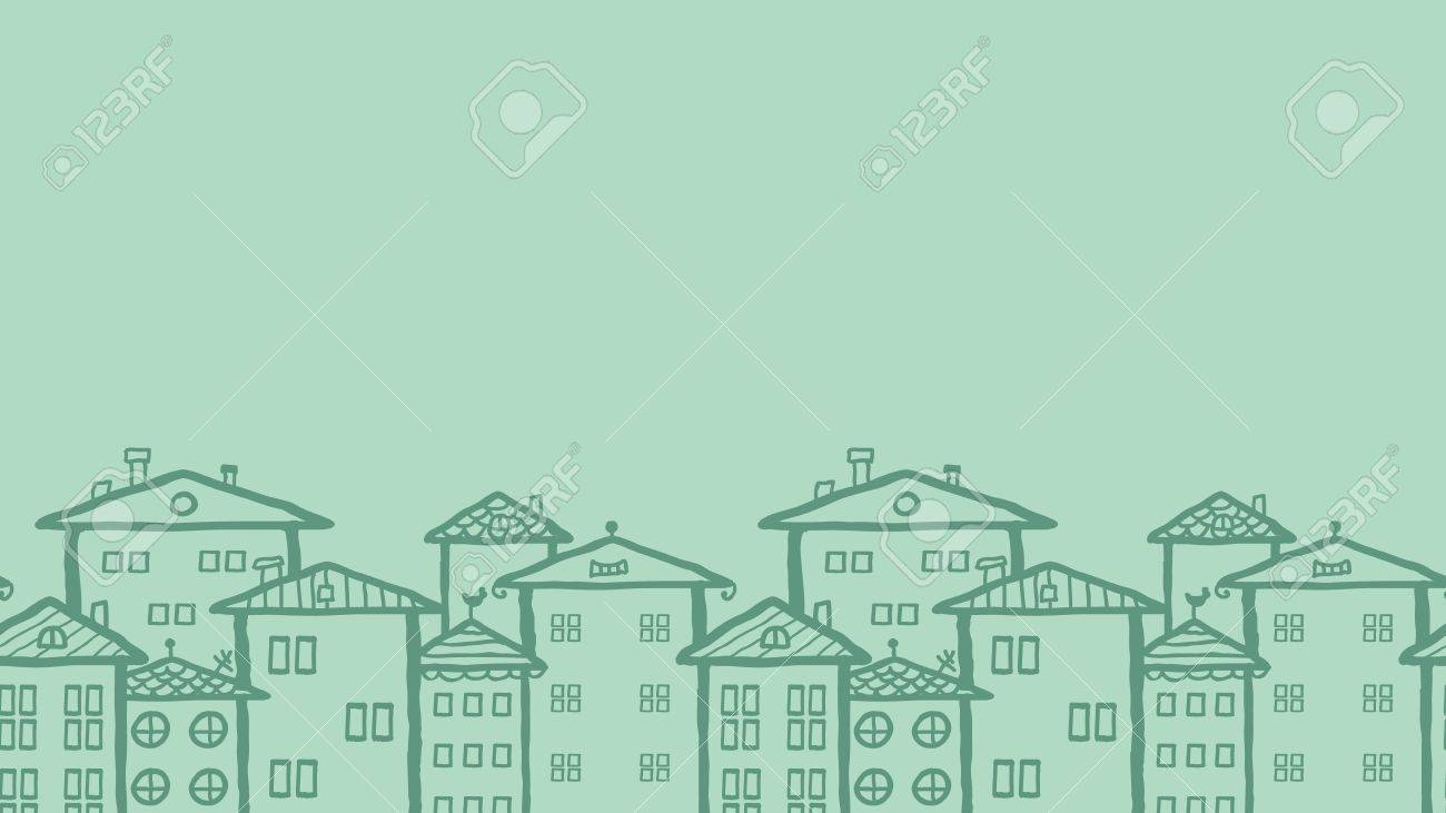 Doodle town houses horizontal seamless pattern background Stock Vector - 17497560