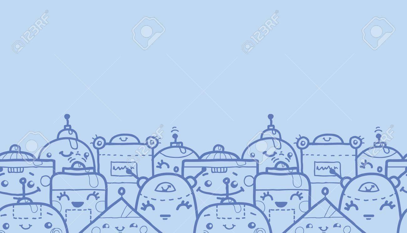 Cute Robot Doodles Cute Doodle Robots Horizontal