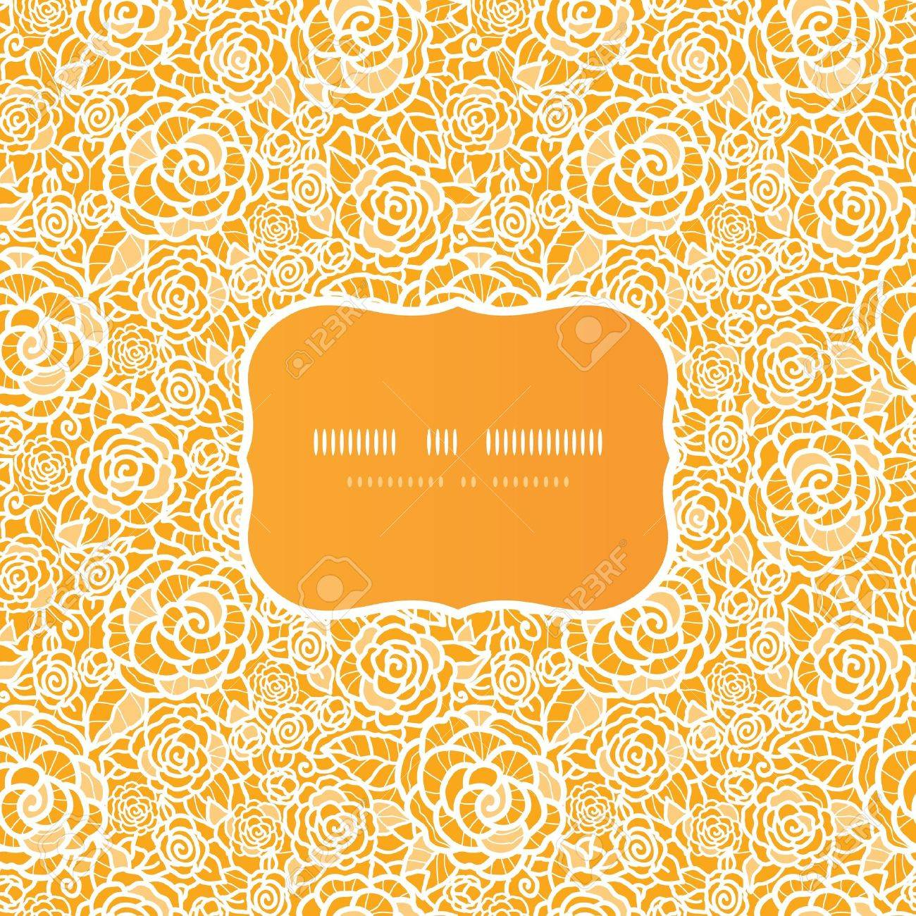 Golden lace roses frame seamless pattern background Stock Vector - 17590945