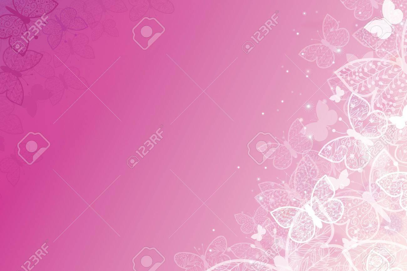 Magical pink butterflies horizontal background Stock Vector - 17590973