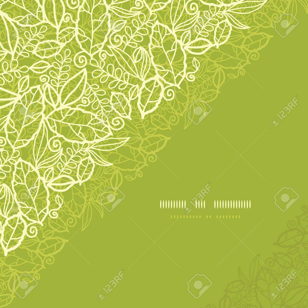 Green lace leaves corner seamless pattern background Stock Vector - 17590974