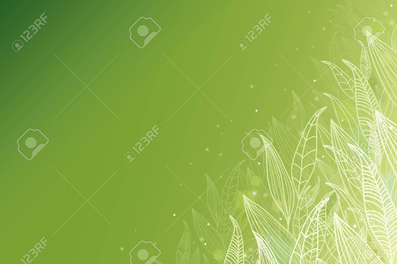 Green glowing leaves horizontal background Stock Vector - 17590978