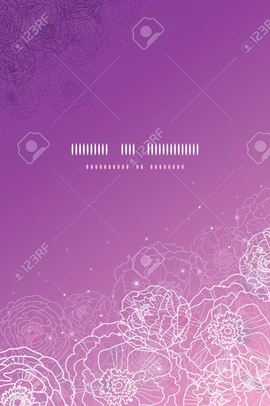 Purple glowing flowers magical vertical template background Stock Vector - 17590996