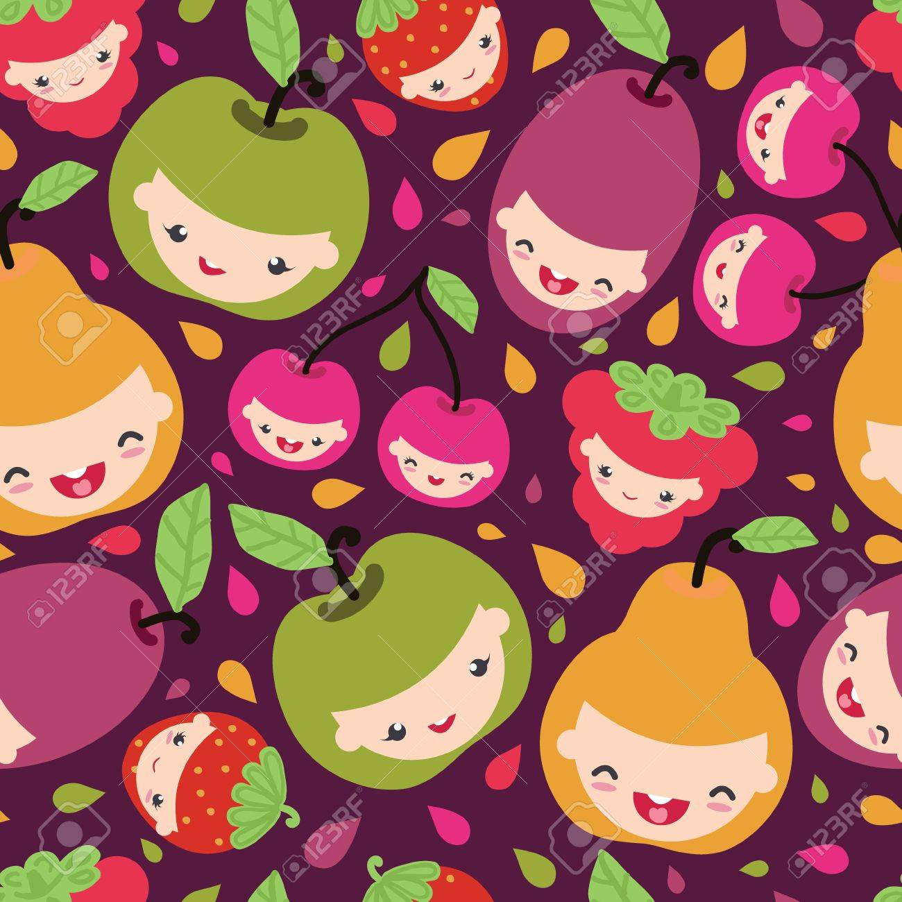 Happy fruit characters seamless pattern Stock Vector - 17835745