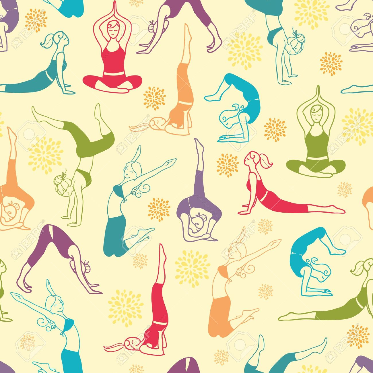 Workout fitness girls seamless pattern background Stock Vector - 17835769