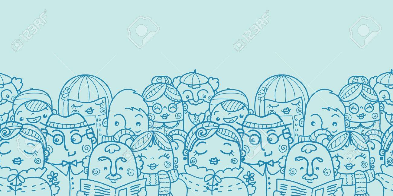 People in a crowd horizontal seamless pattern background Stock Vector - 17965907