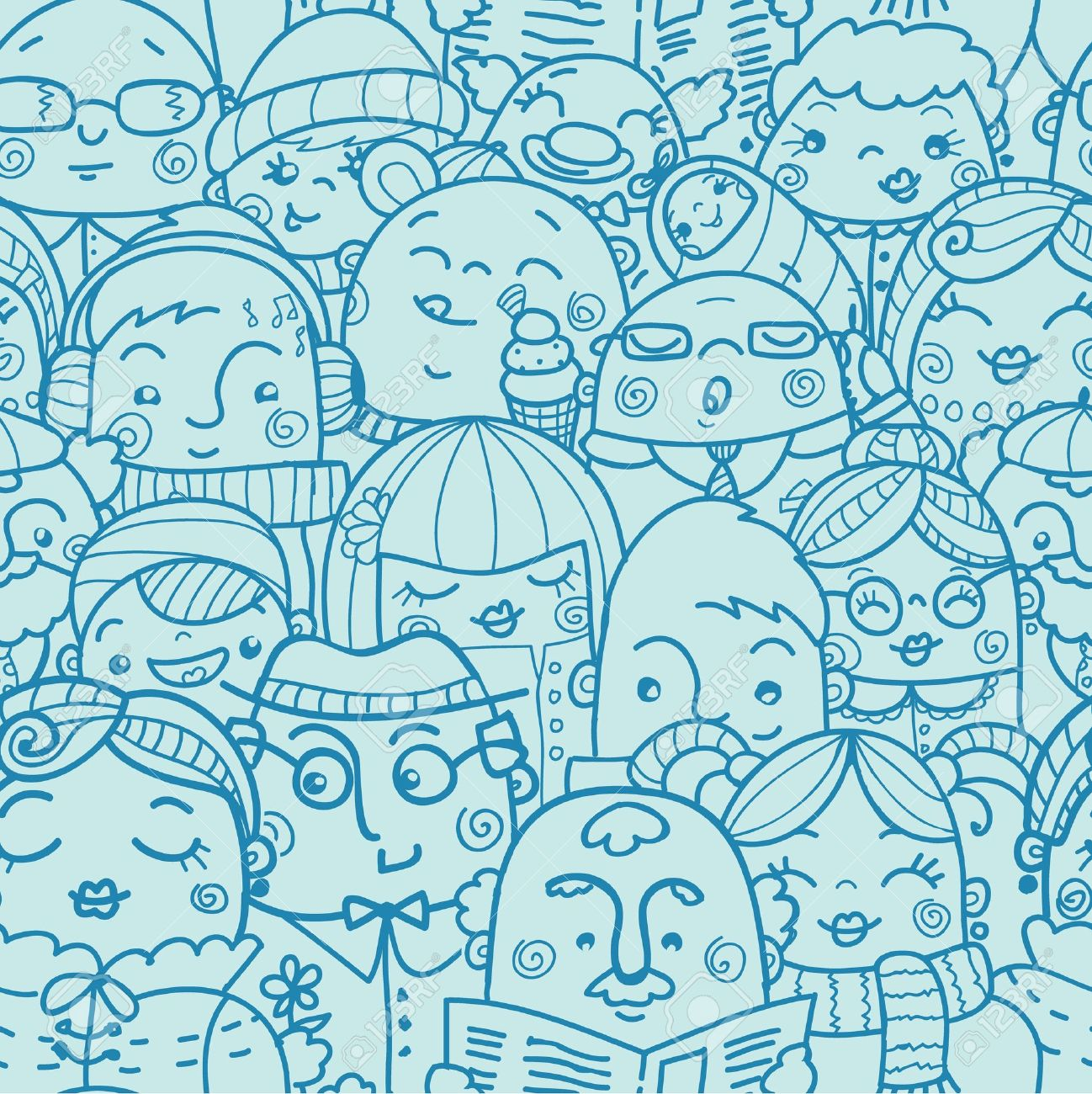 People in a crowd seamless pattern background Stock Vector - 17965909