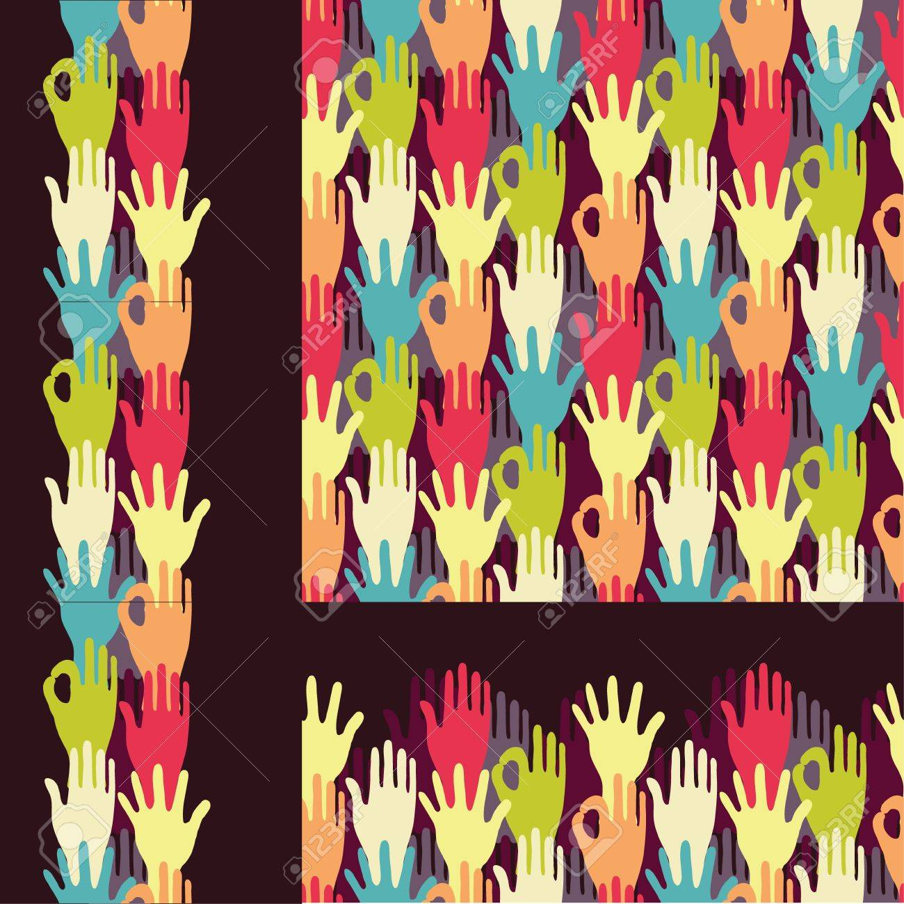Set of hands in the crowd seamless pattern backgrounds and borders Stock Vector - 17965938