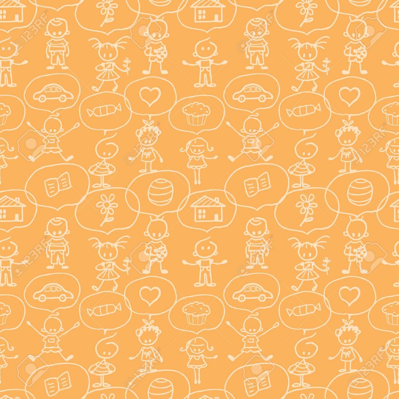 Children thinking seamless pattern background Stock Vector - 17965932