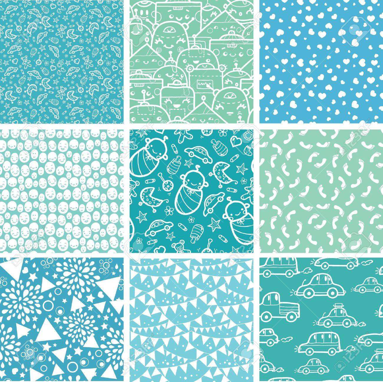Nine baby boy blue seamless patterns backgrounds collection Stock Vector - 17965954