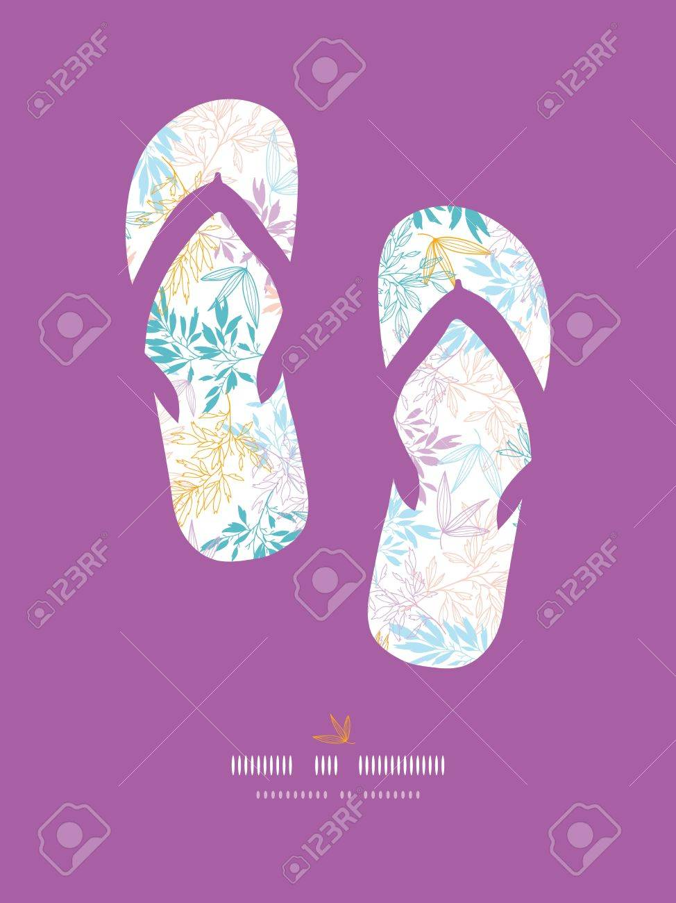 Colorful pastel branches flip-flops decor pattern background Stock Vector - 18116417