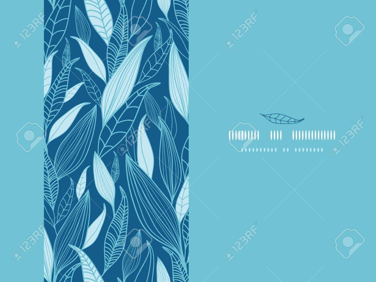 Blue Bamboo Leaves Horizontal Seamless Pattern Background - 18151034