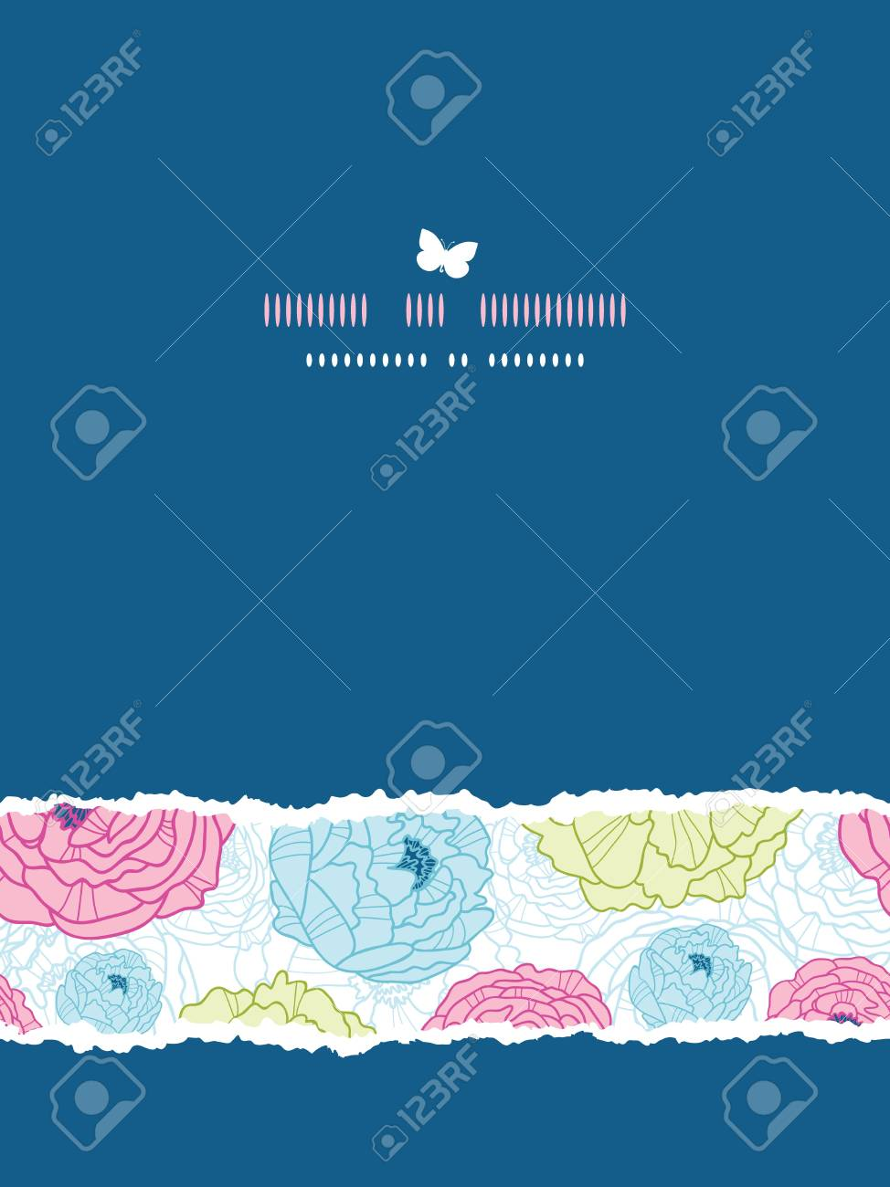 Lovely flowers vertical torn seamless pattern background Stock Vector - 18166830