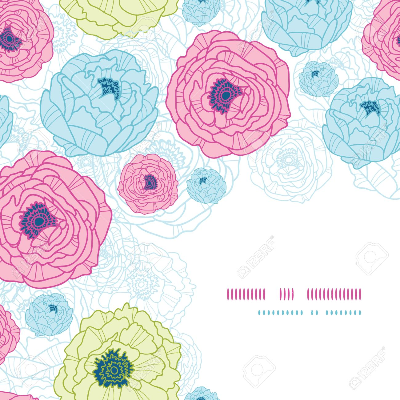 Lovely flowers corner seamless pattern background Stock Vector - 18166824
