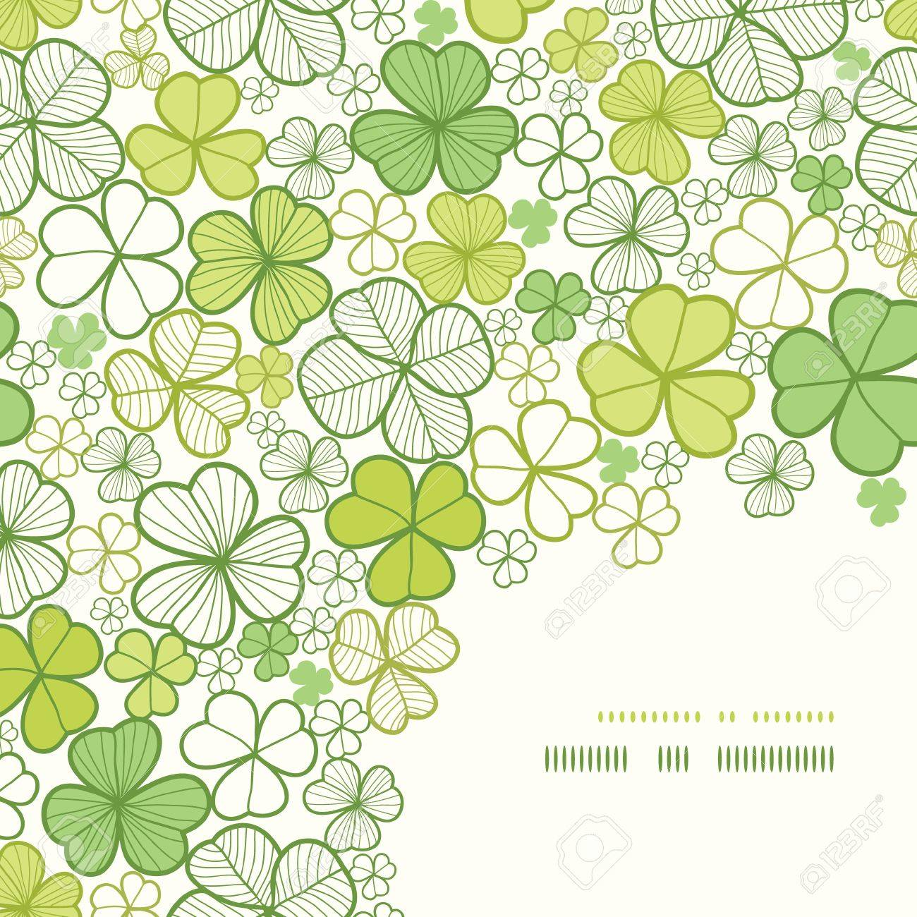 Clover line art corner decor seamless pattern background Stock Vector - 18305652