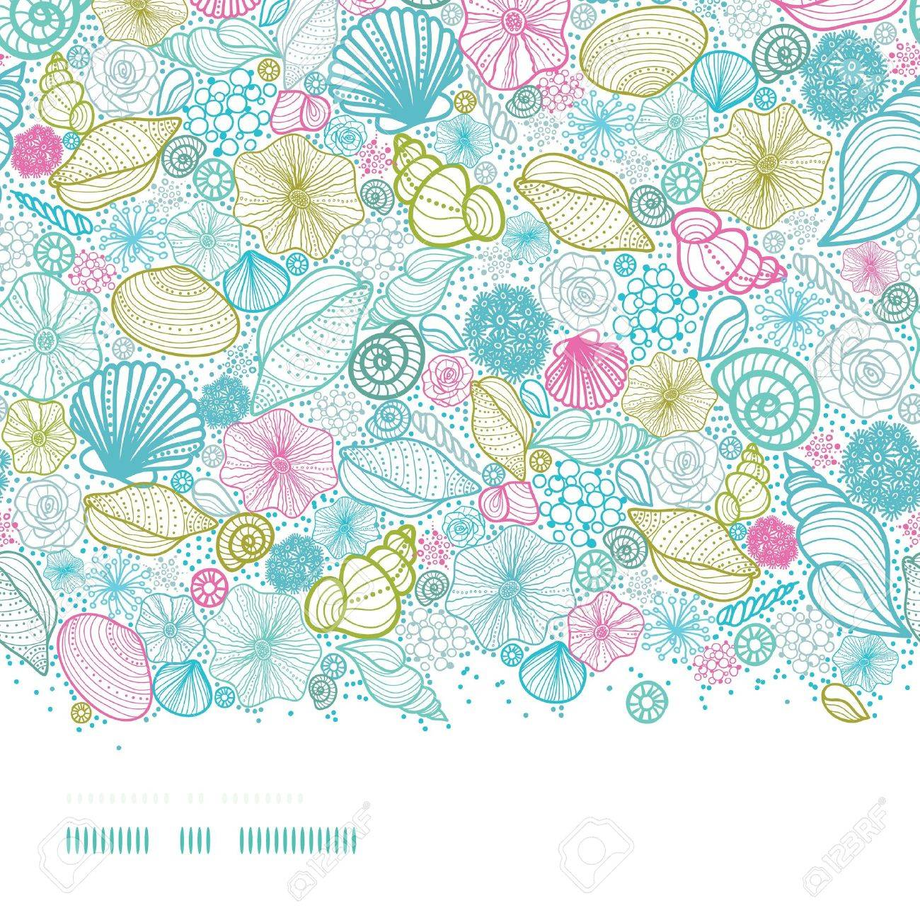 Seashells line art horizontal seamless pattern background - 18410328