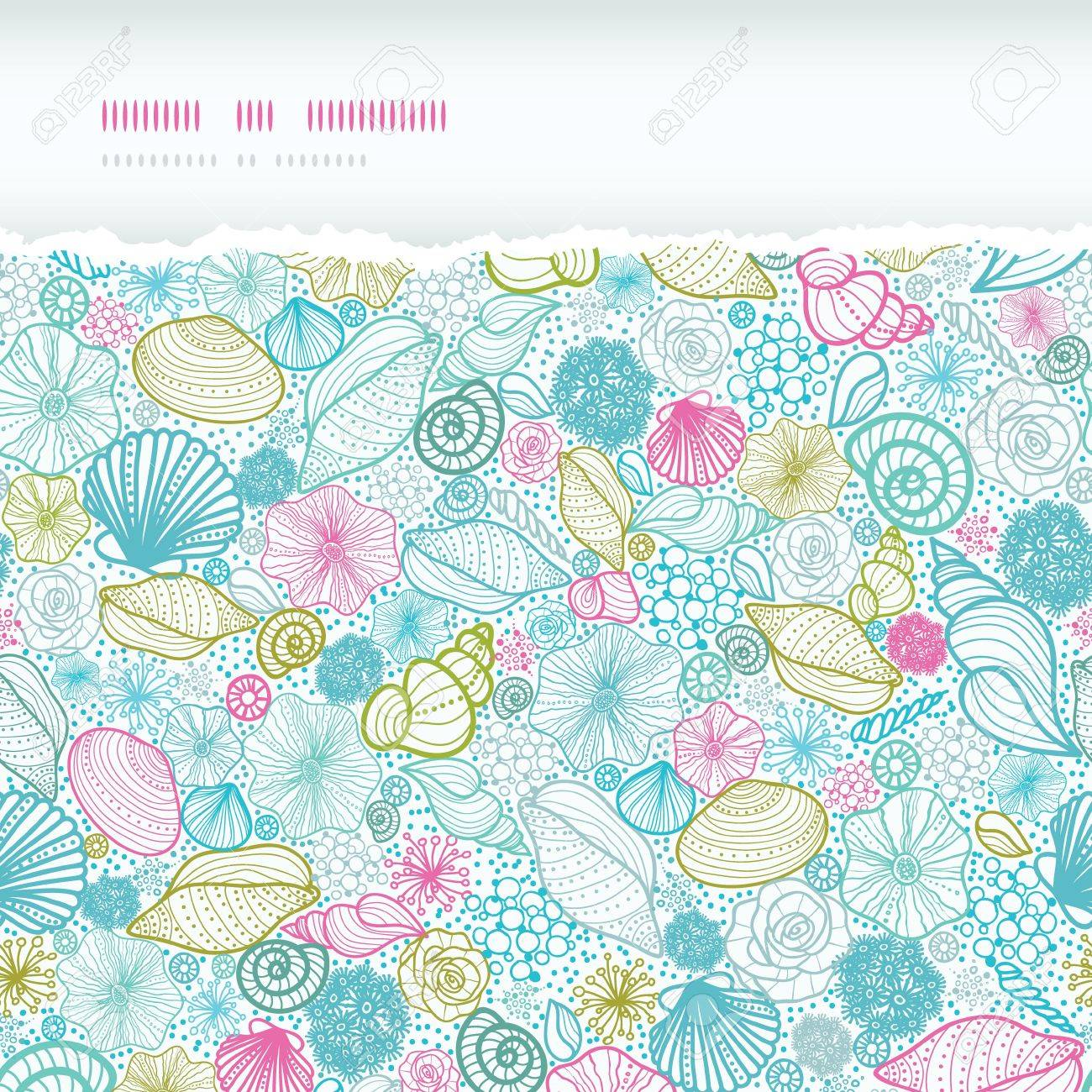 Seashells line art horizontal torn seamless pattern background Stock Vector - 18433367