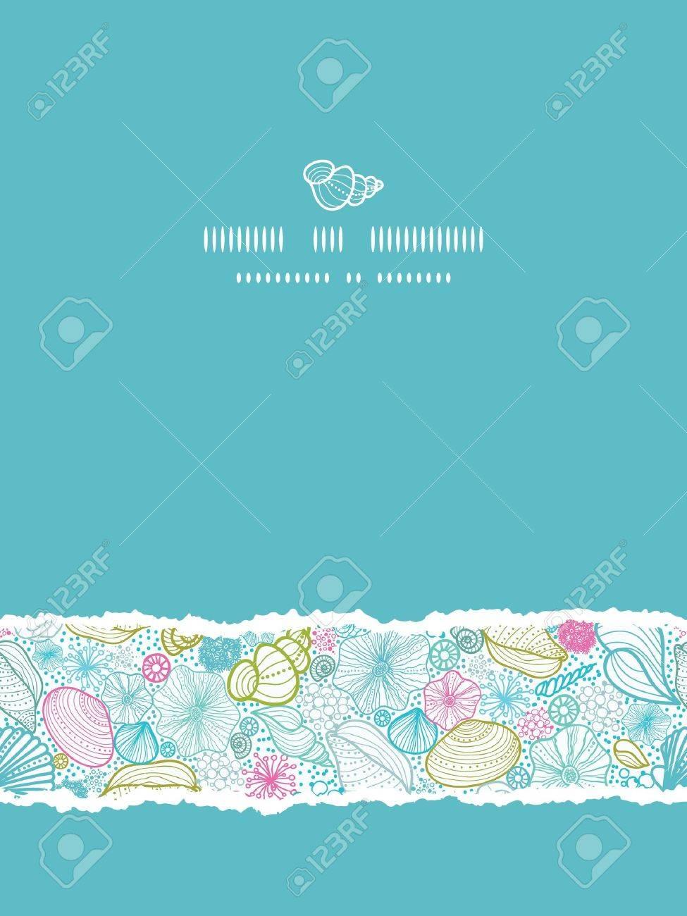 Seashells line art vertical torn seamless pattern background - 18433365