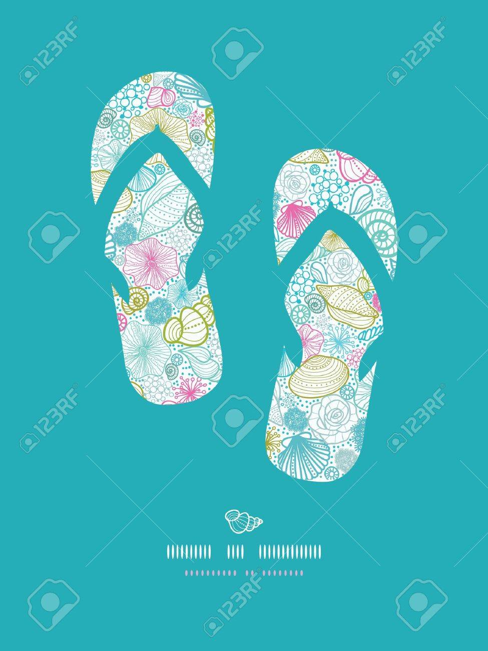Seashells line art flip flops decor pattern background Stock Vector - 18433397