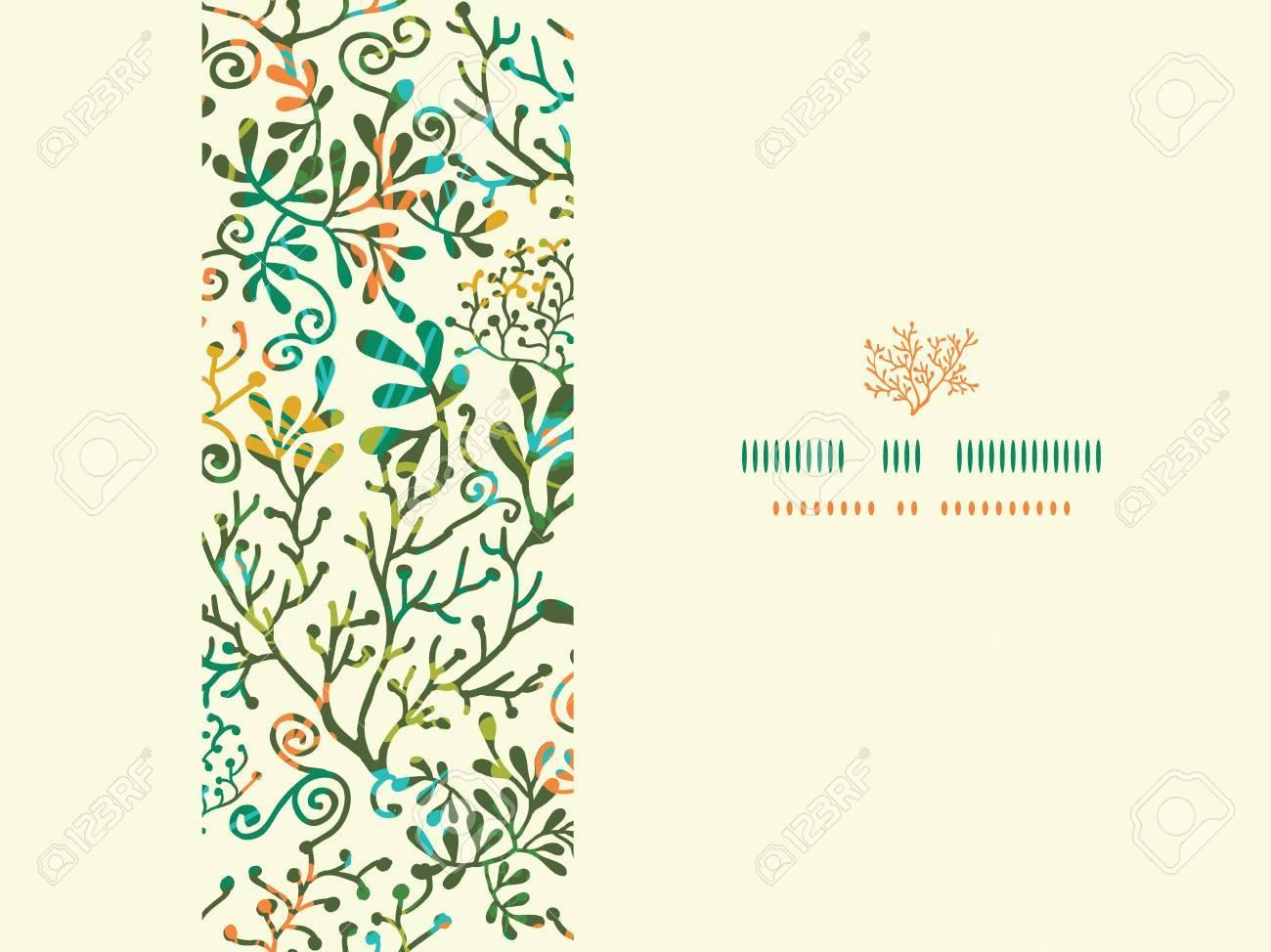 Textured Plants Horizontal Seamless Pattern Background Stock Vector - 19197161