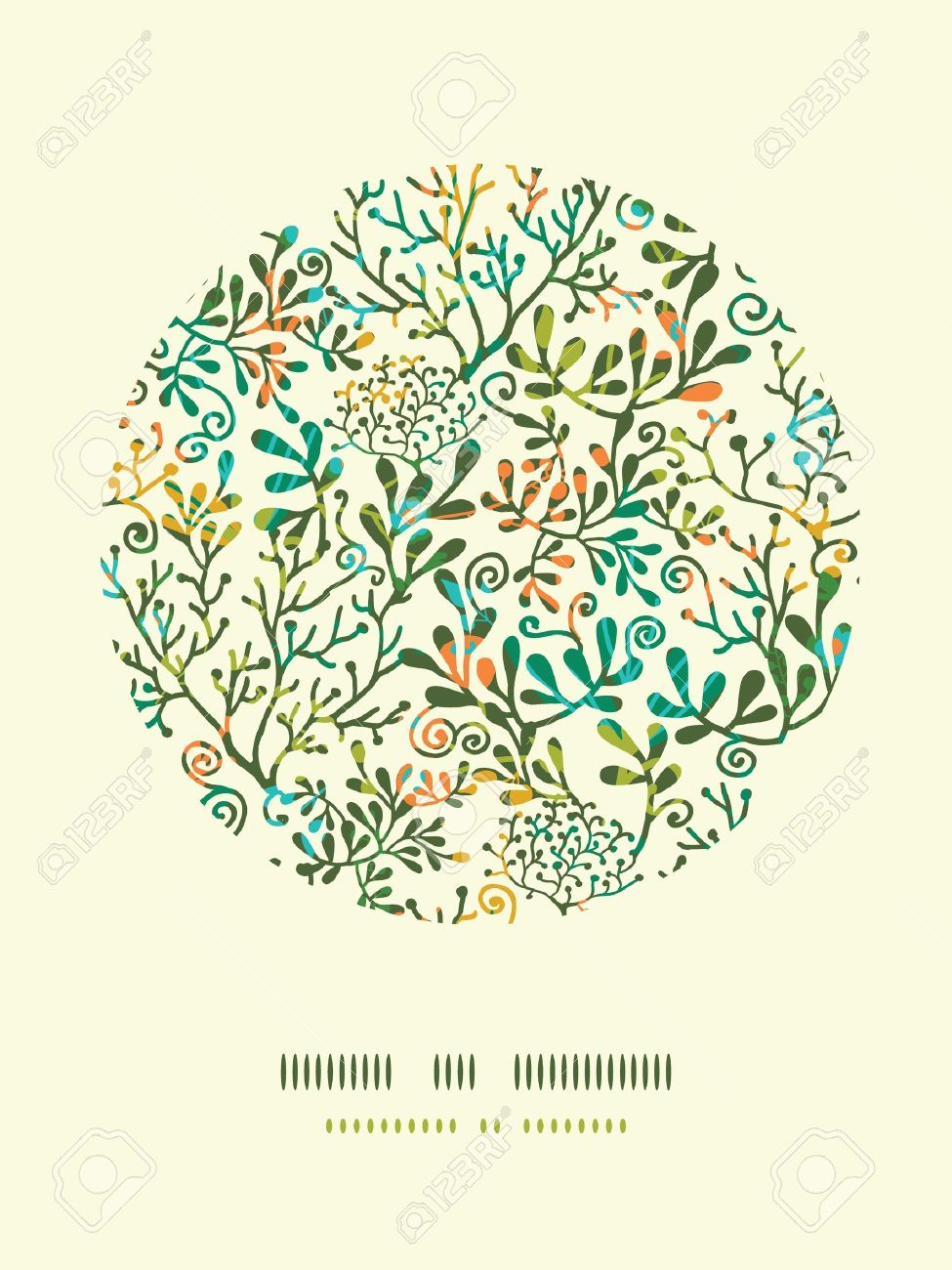 Textured Plants Circle Decor Pattern Background Stock Vector - 19278267