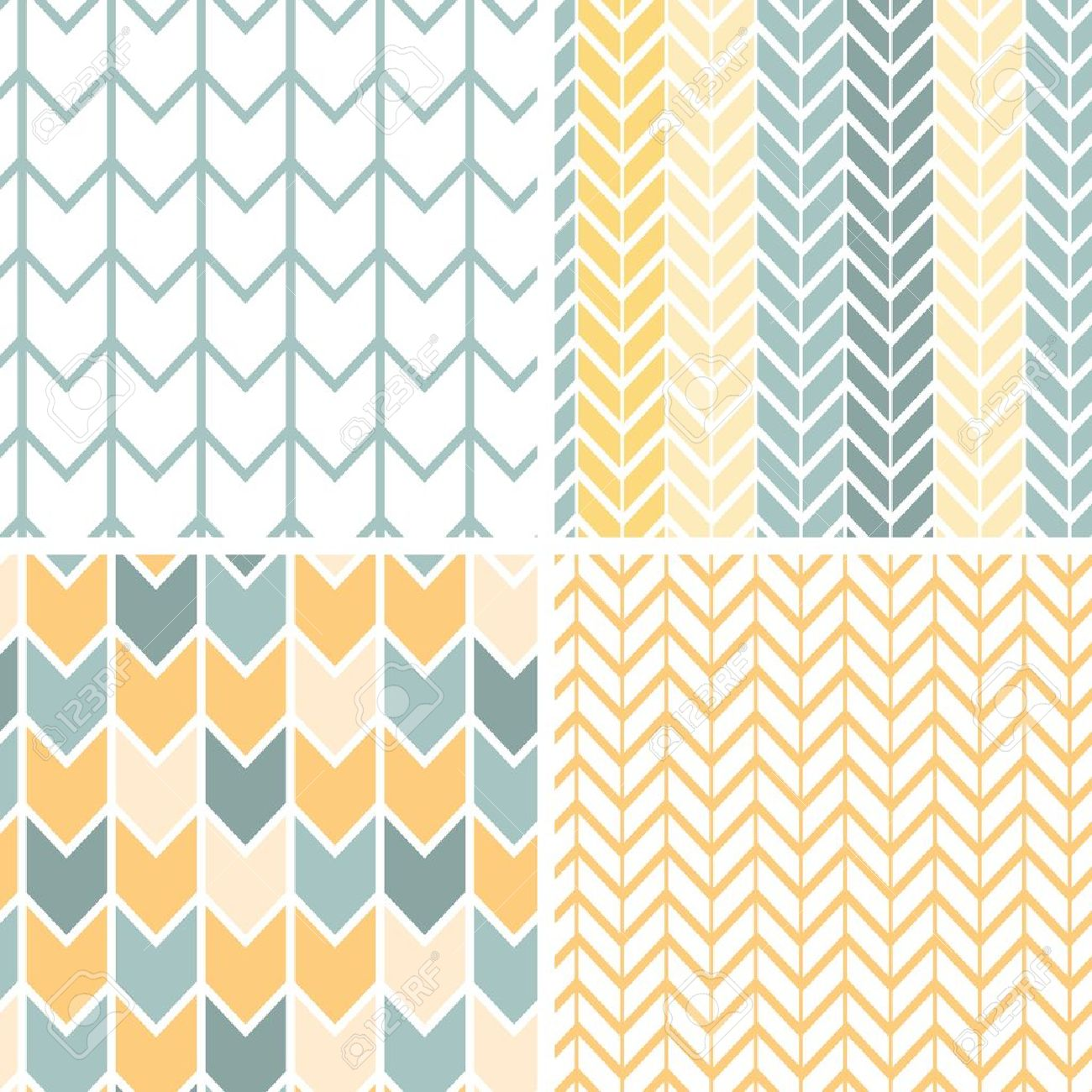 Set of four gray yellow chevron patterns and backgrounds Stock Vector - 19935277