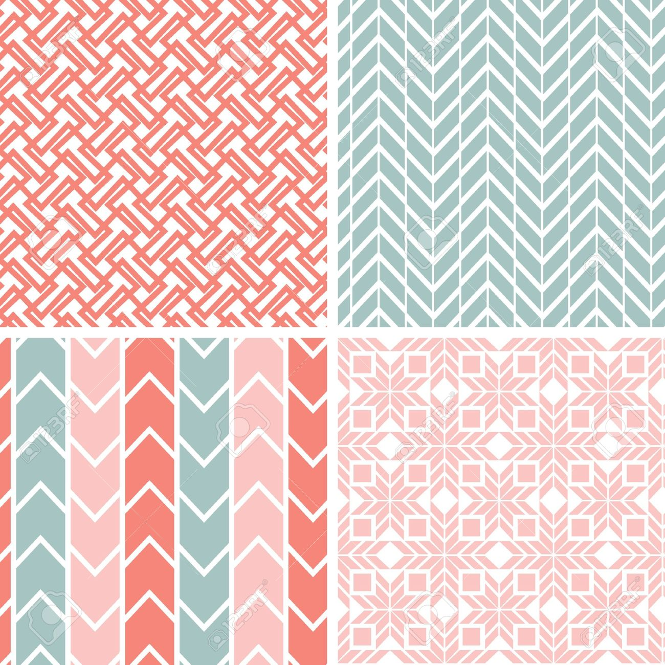 Set of four gray pink geometric patterns and backgrounds Stock Vector - 19935278