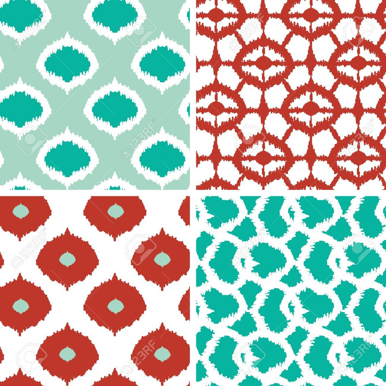 Set of green and red ikat geometric seamless patterns backgrounds - 19935283