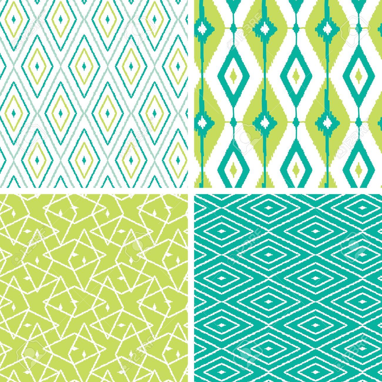 Set of green ikat diamond seamless patterns backgrounds - 19935296