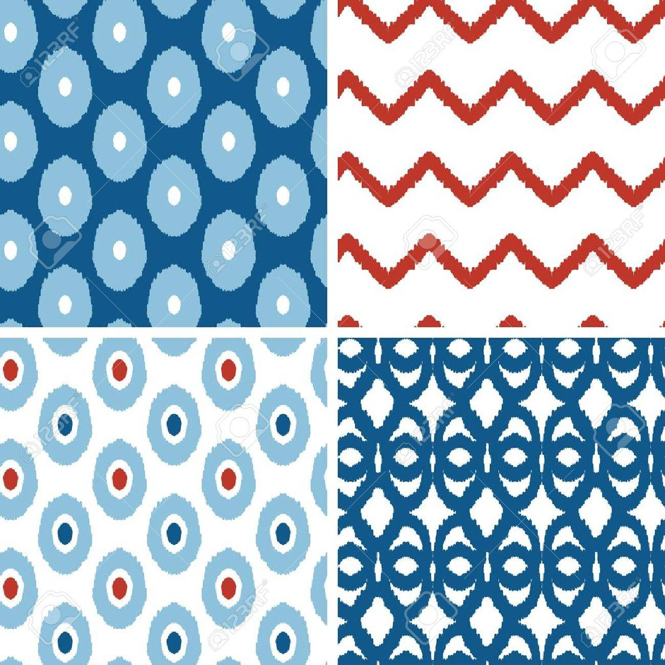 Set of blue and red ikat geometric seamless patterns backgrounds Stock Vector - 19935286