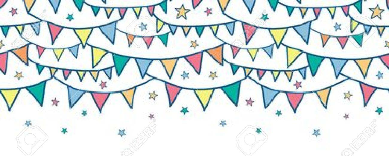 Colorful doodle bunting flags horizontal seamless pattern background Stock Vector - 20184955