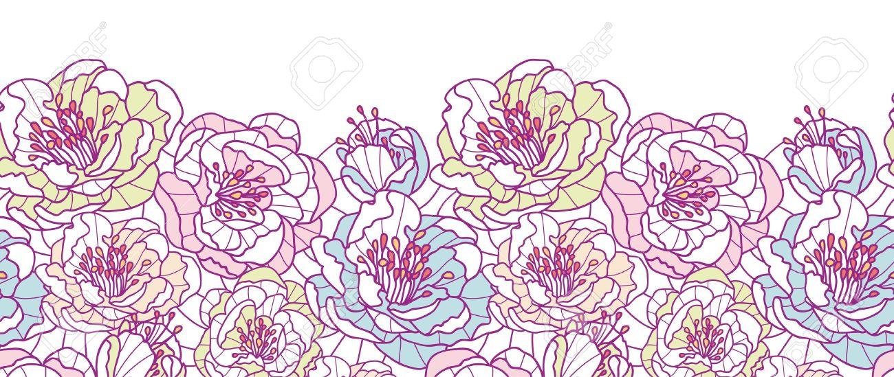Colorful line art flowers horizontal seamless pattern background border - 20184981
