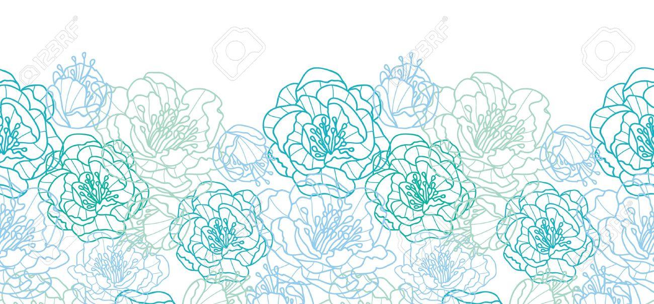 Blue line art flowers horizontal seamless pattern background border Stock Vector - 20184977