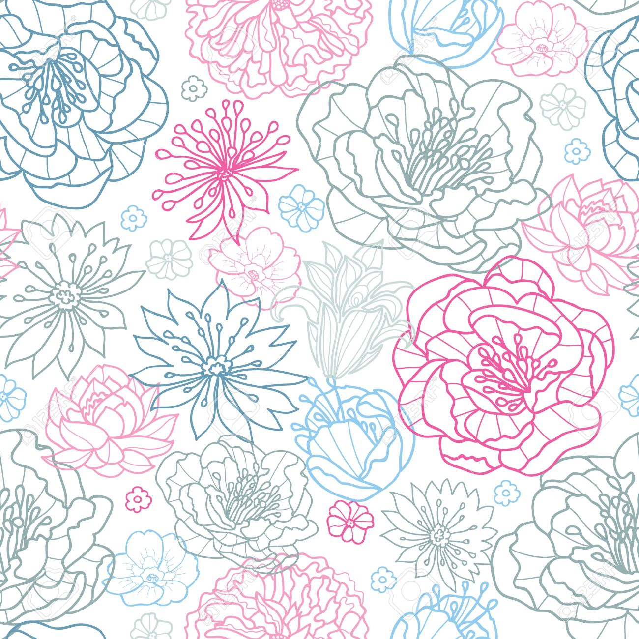 Gray and pink lineart florals seamless pattern background - 20342031
