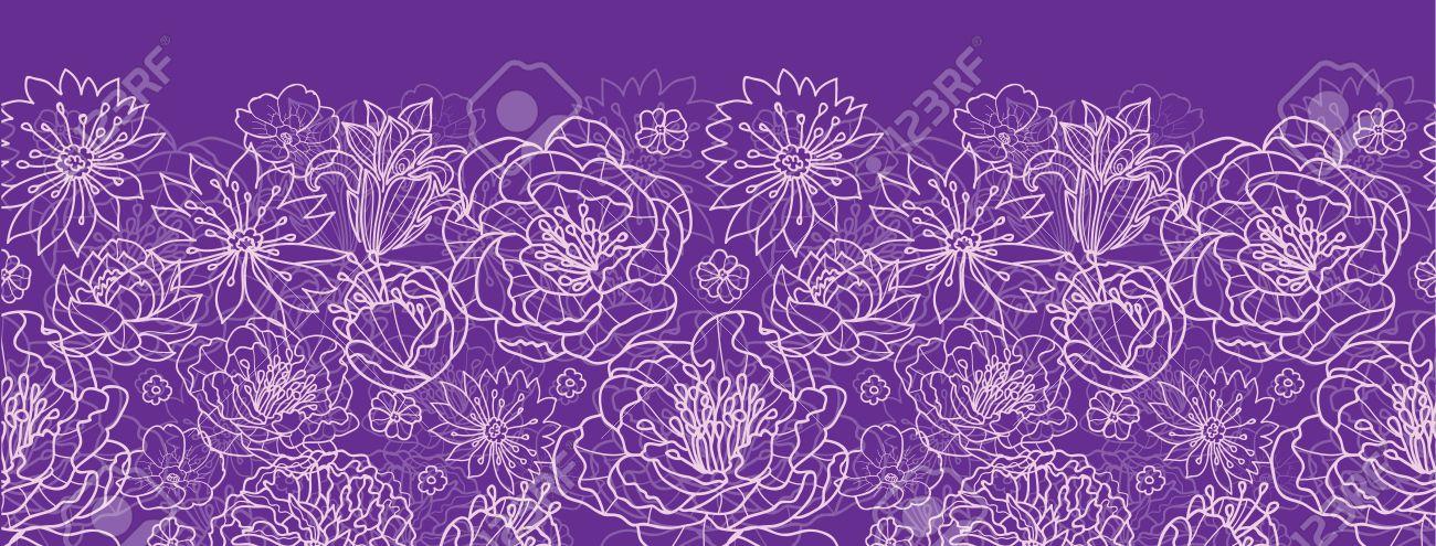 Purple lace flowers horizontal seamless pattern background border Stock Vector - 20342034