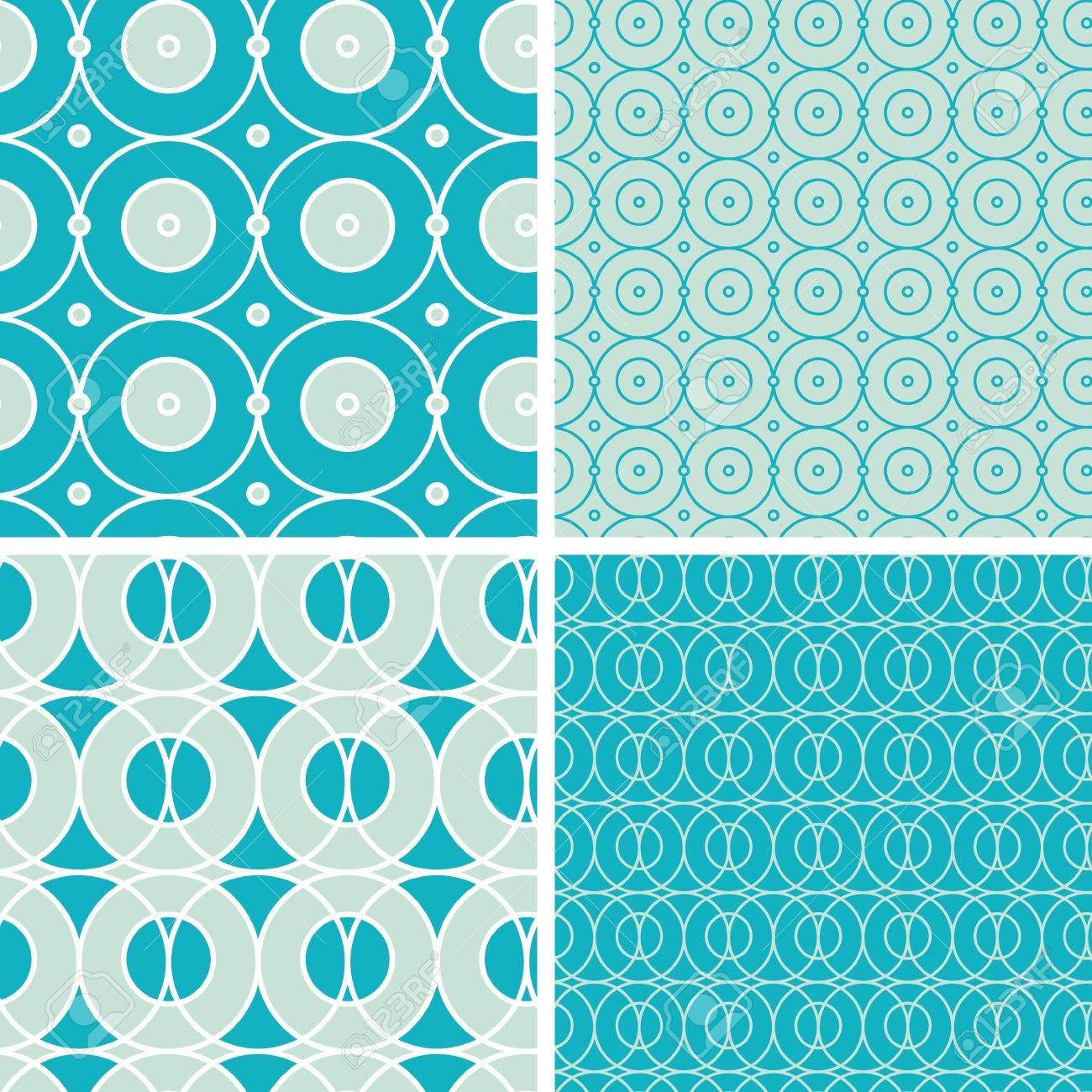 Abstract geometric circles seamless patterns set - 20610131