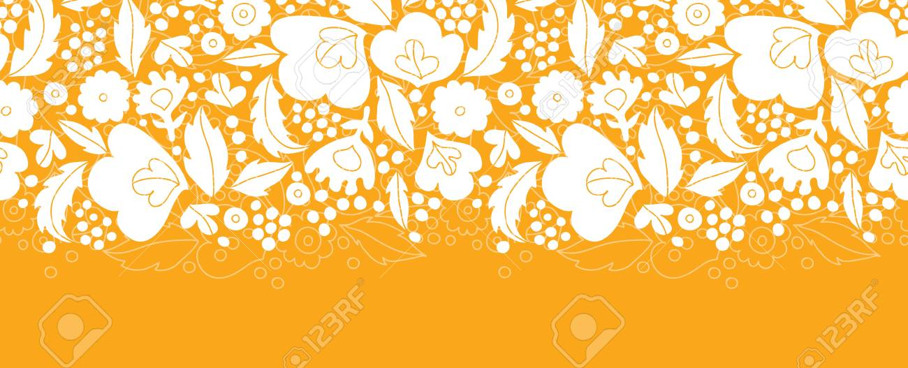 Gold and white floral silhouettes horizontal seamless pattern background Stock Vector - 20610094