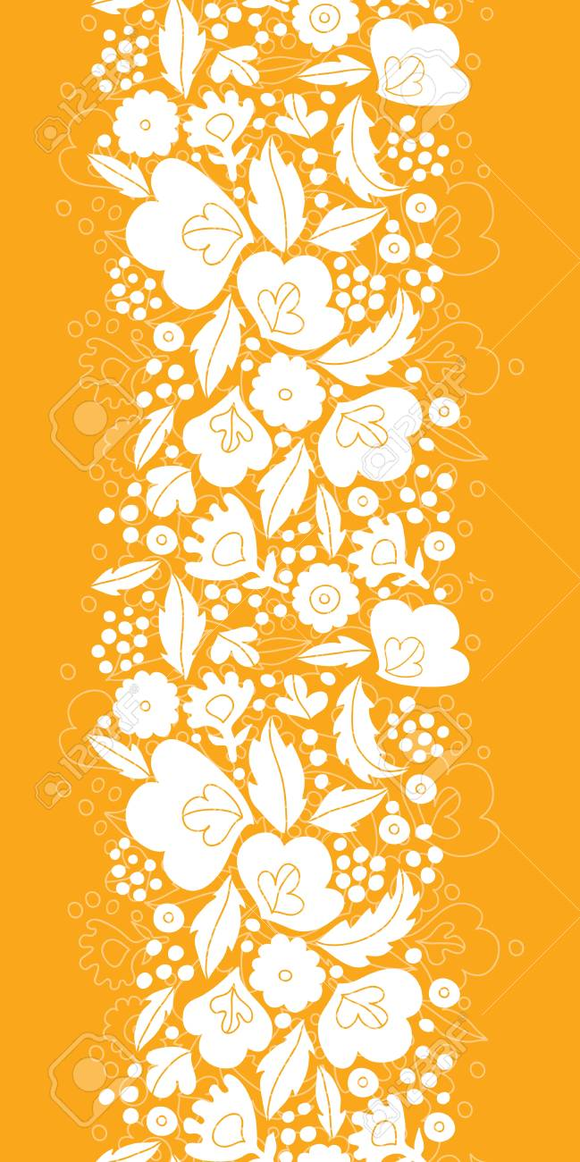 Gold and white floral silhouettes vertical seamless pattern background Stock Vector - 20610097